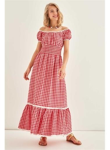 Vitrin VİTRİN Güpür Şerit Detaylı Uzun Country Elbise Kırmızı